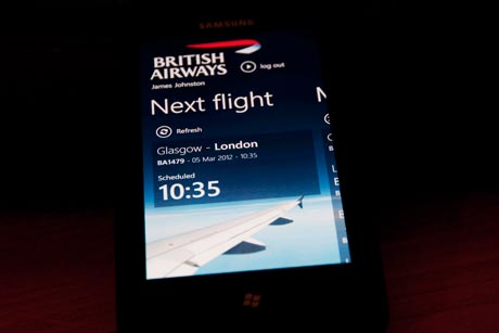 Next flight on BA App
