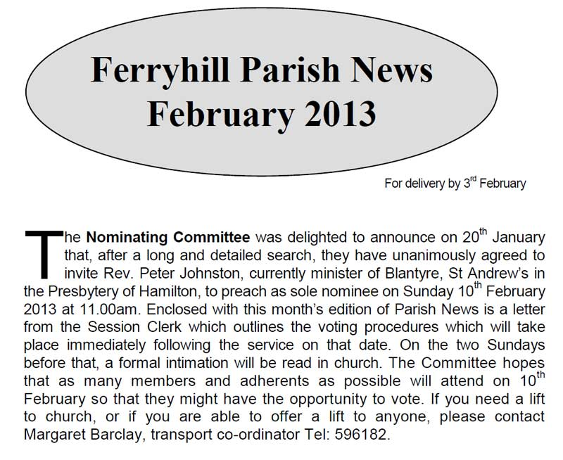 Parish News February 2013