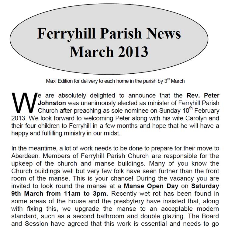 Parish News for March 2013