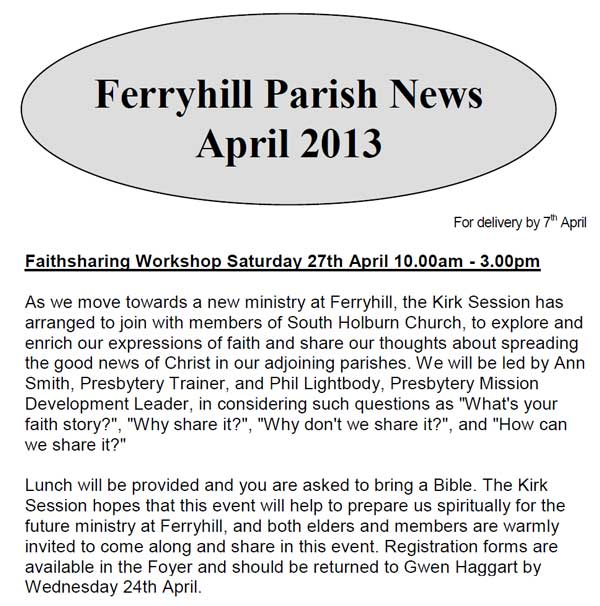 Parish News for April 2013